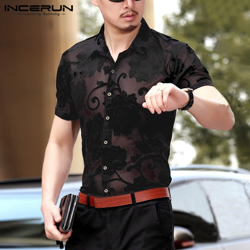 INCERUN Fashion Men Mesh Shirt Printed Transparent Lapel Sexy Slim Short Sleeve Dress Shirt Men 2020 Clubwear Party Camisa S-5XL