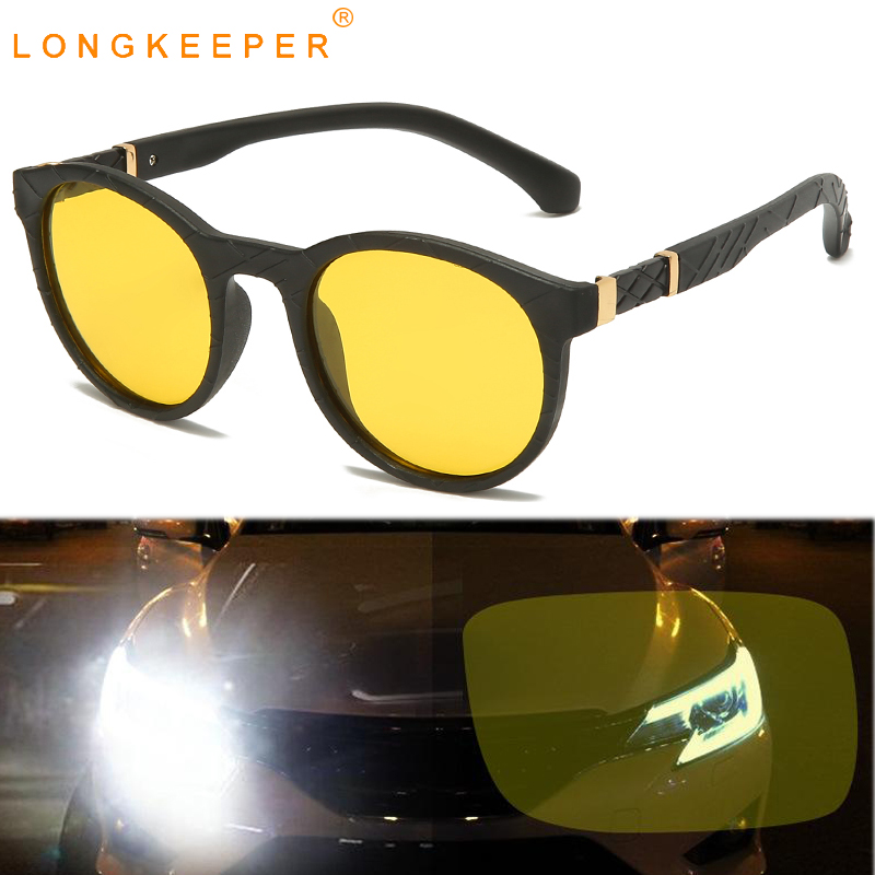 LongKeeper Night Vision Driving Sunglasses Men Women Round Polarized Glasses Driver Yellow Lens Sun Glasses Oculos Masculino