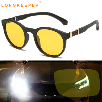 LongKeeper Night Vision Driving Sunglasses Men Women Round Polarized Glasses Driver Yellow Lens Sun Glasses oculos masculino sunglasses driving night vision lens sun glasses male anti uva uvb for men women with case