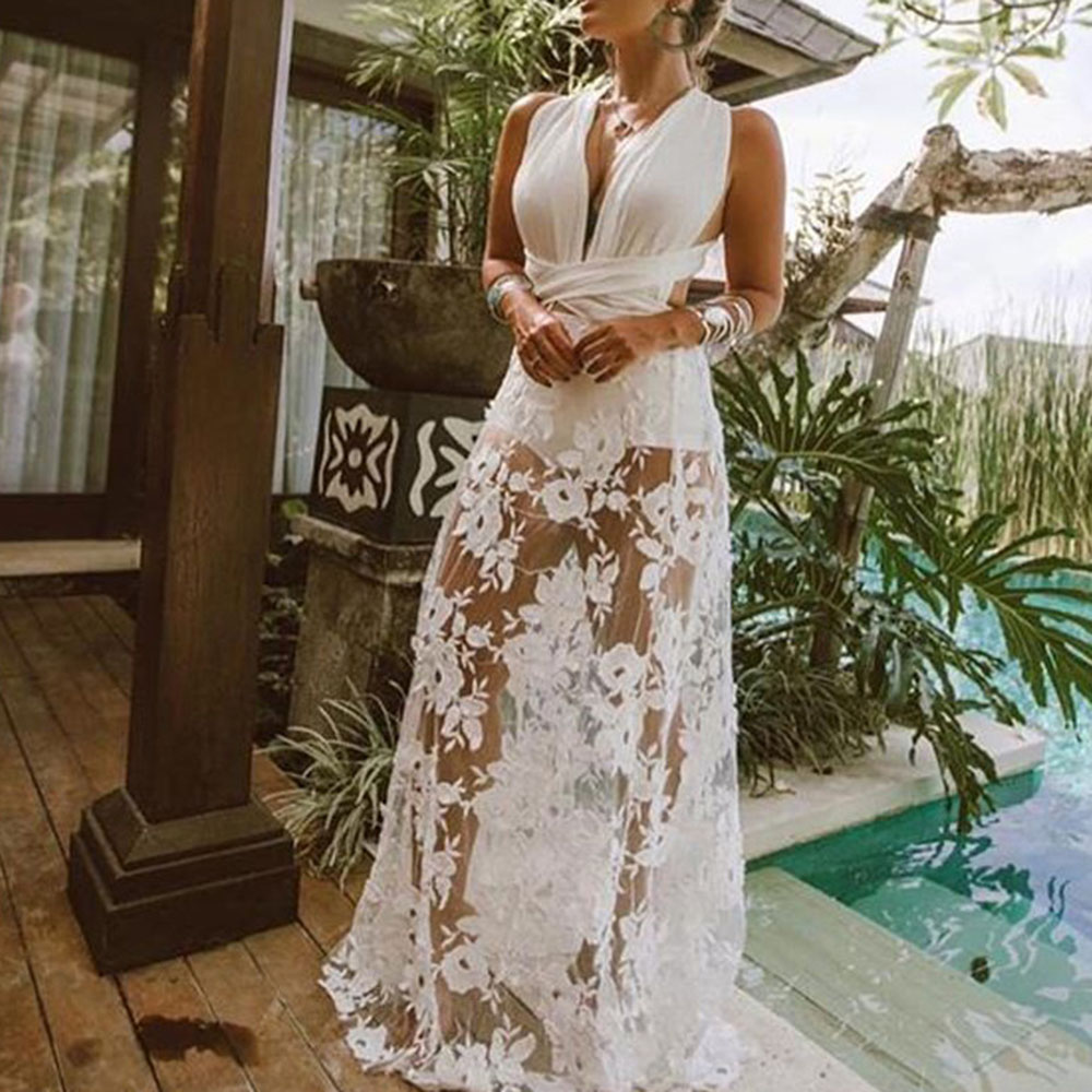 Cross Belt Backless Long Beach Dress Sexy Lace Embroidery Evening Party Dresses Women Summer White Illusion V-Neck Maxi Robe
