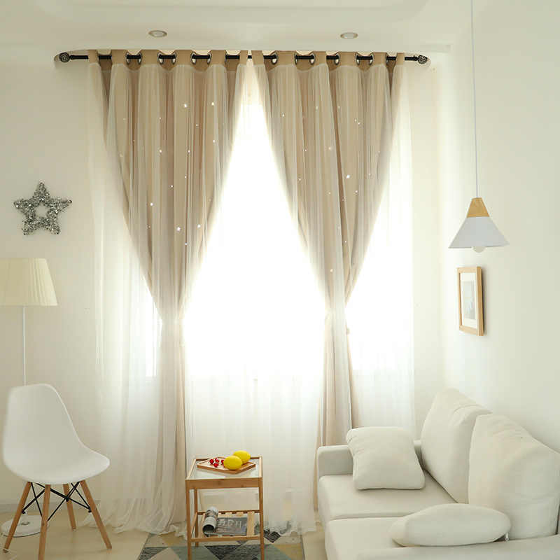 Korean Double Hollowed-out Star Curtains for Living Room  Girls' Bedroom Romatic Curtains for Bedroom High-shading Tulle  Cloth