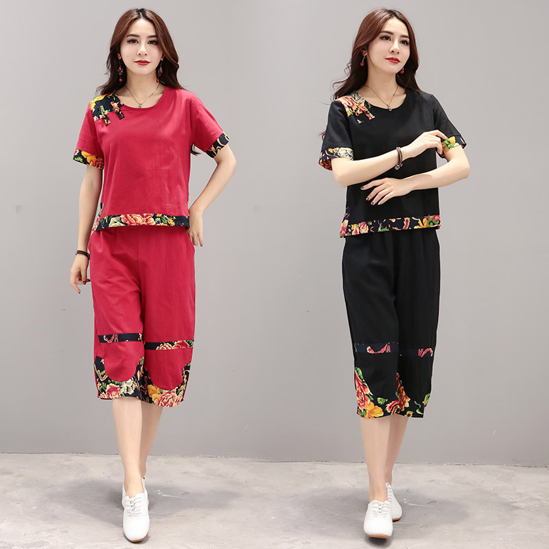 2019 Spring And Summer Literature And Art Cotton Linen Loose Casual WOMEN'S Suit Wide-Leg Capri Pants Two-Piece Set