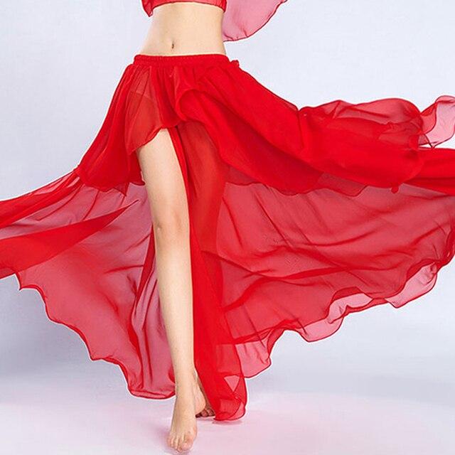 Profesional de la competencia Sexy gasa para las mujeres danza del vientre falda Maxi traje Dancer Dress11 Color; Envío gratis