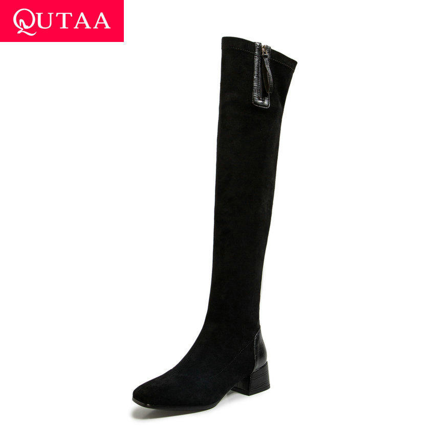 QUTAA 2020 Stretch Flock PU Over The Knee Boots Square Heel Slip on Women Shoes Square Toe Zipper Fashion Long Boots Size 34-43