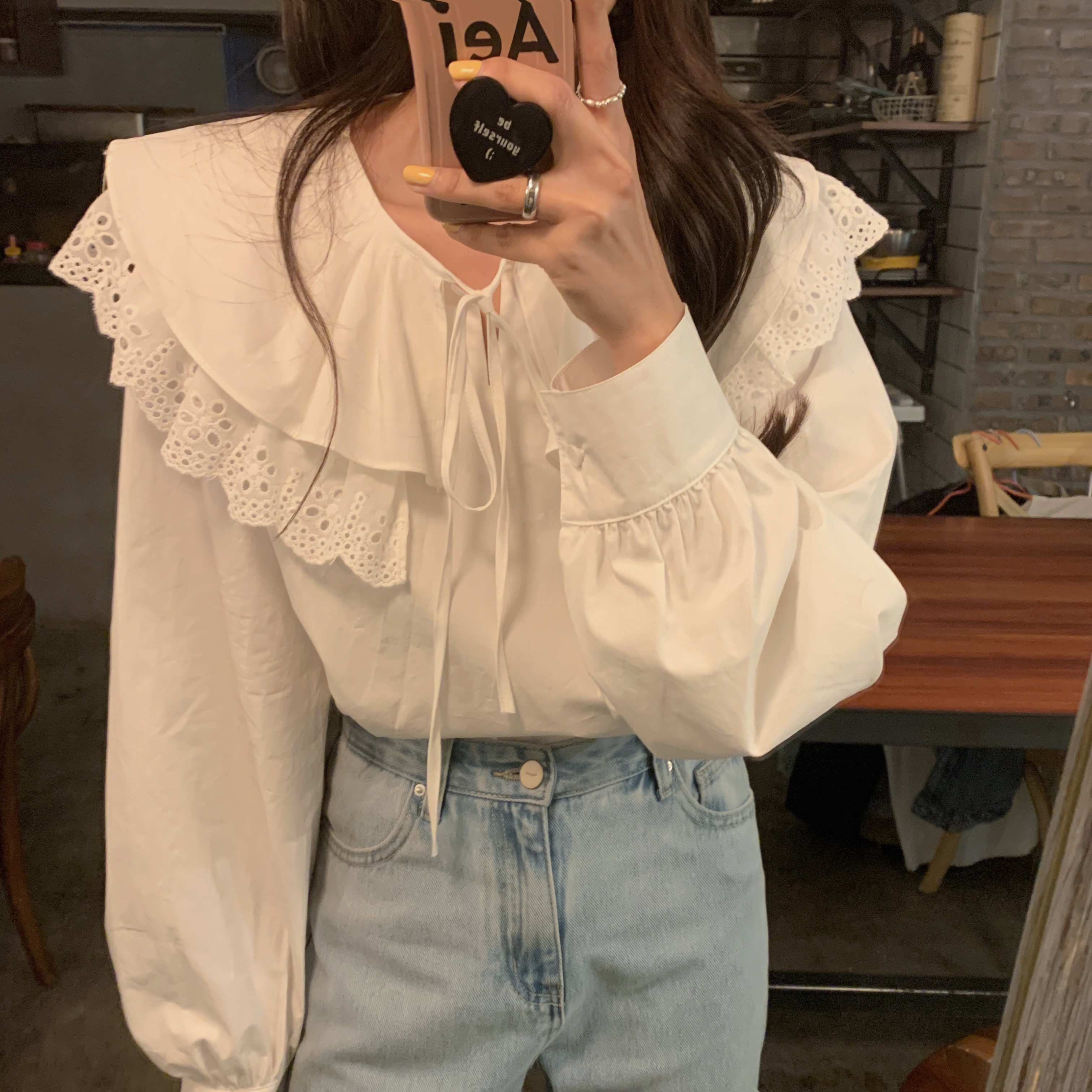 H84cc9b51435845108eb5f99622ffc73b2 - Spring / Autumn Korean Lace-Up Hollow Out Collar Long Sleeves Loose Solid Blouse