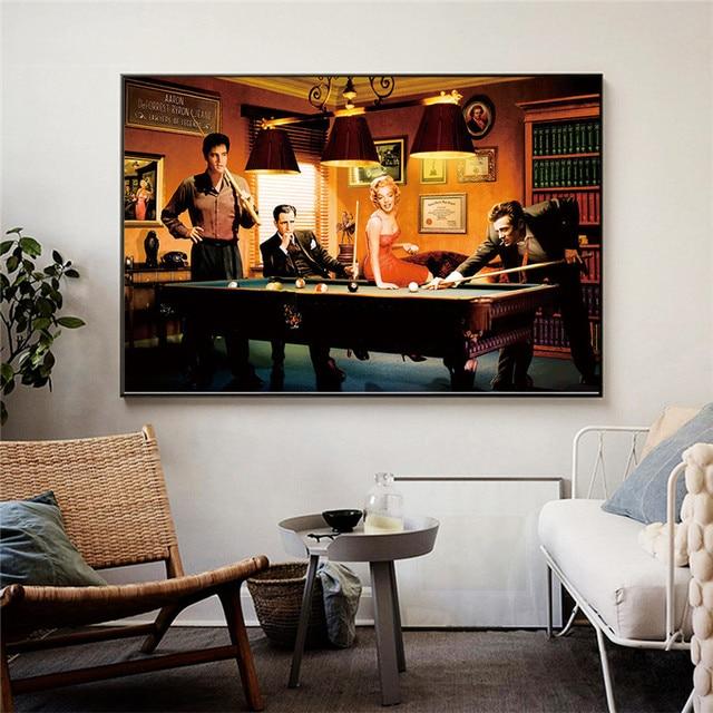 Elvis Presley, Humphrey Bogart, Marilyn Monroe & James Dean Playing Billiard 5