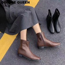 Ankle Boots Women Short Black Winter Chelsea Zipper Brand Chaussure Bottes Femme Flat Casual Shoe zapatos muje