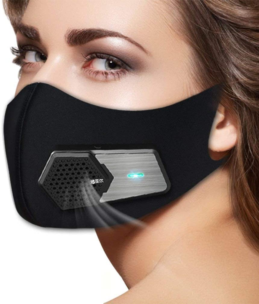 Electric Intelligent Cycling Face Mask Purifying Filter Anti-Bacteria PM2.5 Filter Rechargeable, Battery Air Supply Cycling