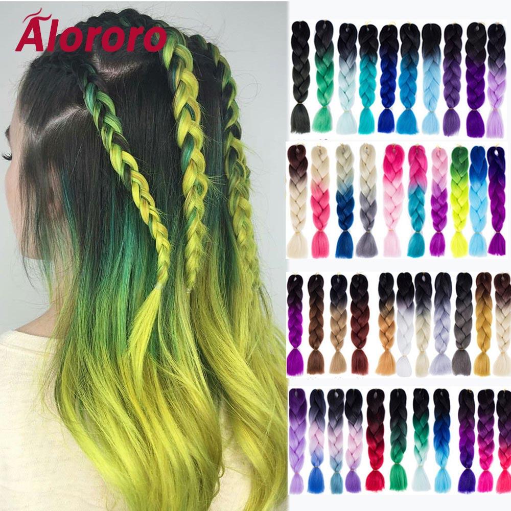 Alororo Womens Braiding Hair Purple Pink Blue Synt