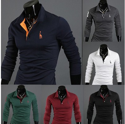 Polo Shirt Deer Embroidery Men Long Sleeve Slim Fit Casual Polo Shirt Polo Shirt MEN'S T-shirt