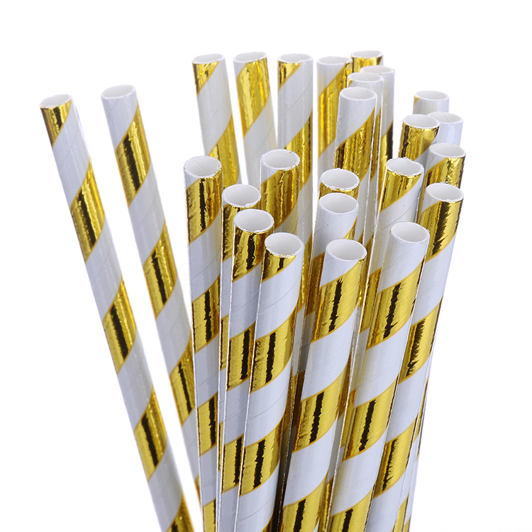 Bronze Stripes Color Straw Holiday Party Decoration Disposable Paper Straw Originality Straw Paperstraw