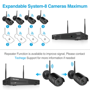 Image 3 - Techege 1080P אלחוטי אבטחת CCTV המצלמה מערכת ערכות אודיו שיא 8CH NVR WiFi חיצוני וידאו בית מעקב מערכת