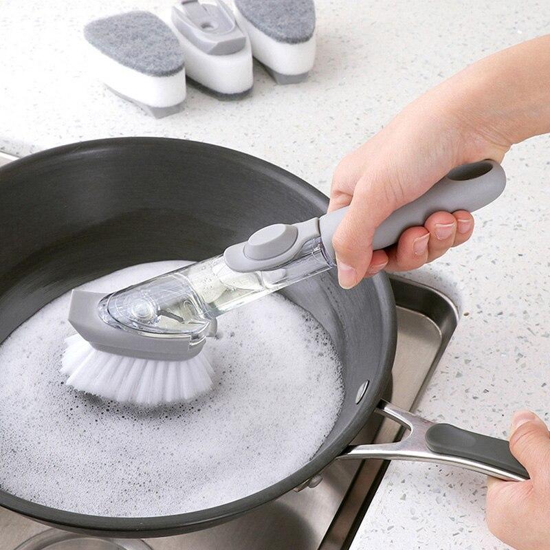 1/4 sztuk podwójnego użytku sprzątanie kuchni szczotka do szorowania miska gąbka do mycia automatyczny dozownik cieczy garnek kuchenny narzędzie do czyszczenia