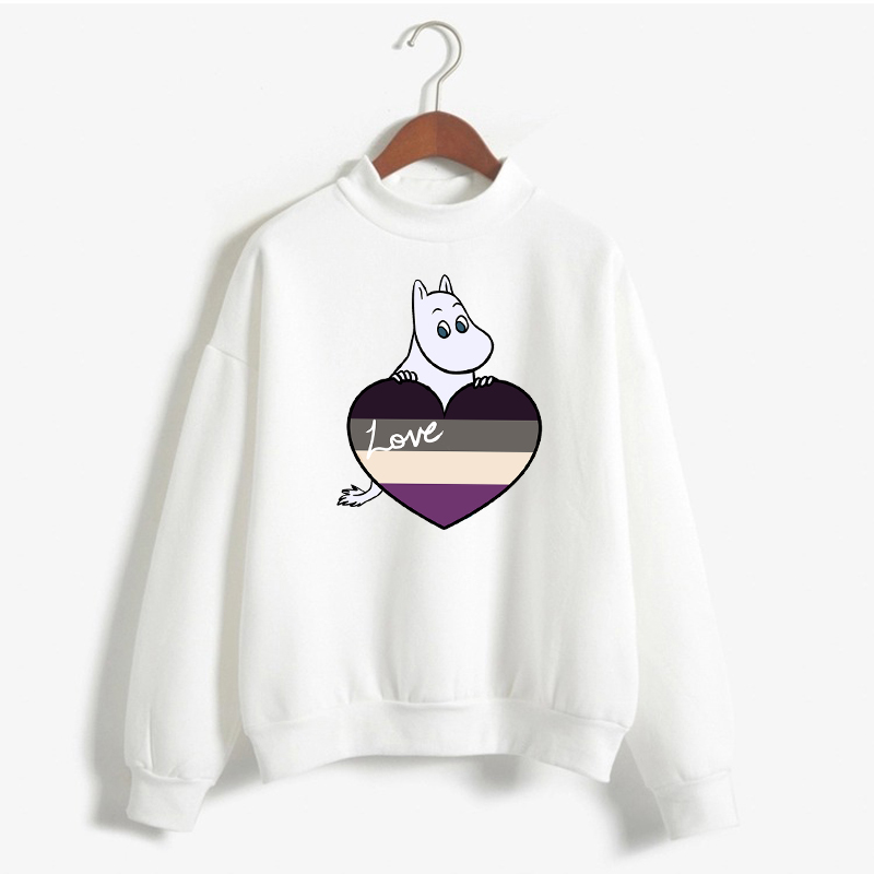Moomin LGBTQ Pride Heart Women Pullover Harajuku Fashion Female Sweatshirt 90s Cartoon Graphics Hoodie Street Tops Clothing