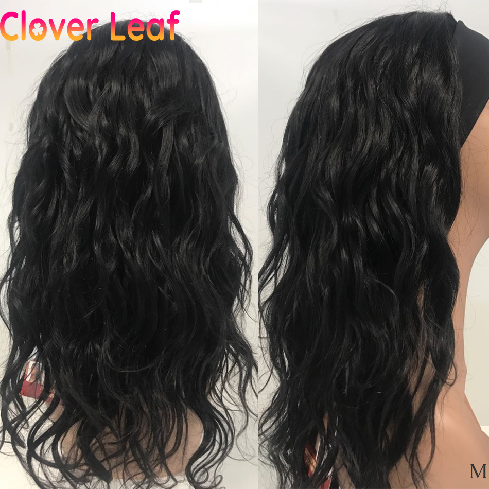 Clover Leaf Ntural Wave Headband Wigs 150% Remy Peruvian Head Band Wigs Human Hair Full Machine Made Headband Scarf Wig