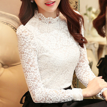 Womens tops and blouses 2019 white lace blouse shirts ladies tops long sleeve blusas femininas shirt for women plus size 0200 цена
