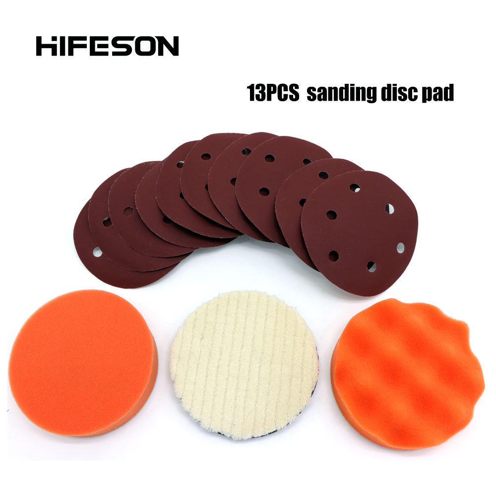5''/6'' Round Sanding Paper Wavily Foam Wool Buffing Pad For Self-vacuum Sander Polisher Loop Pad Car Paint Care Polishing