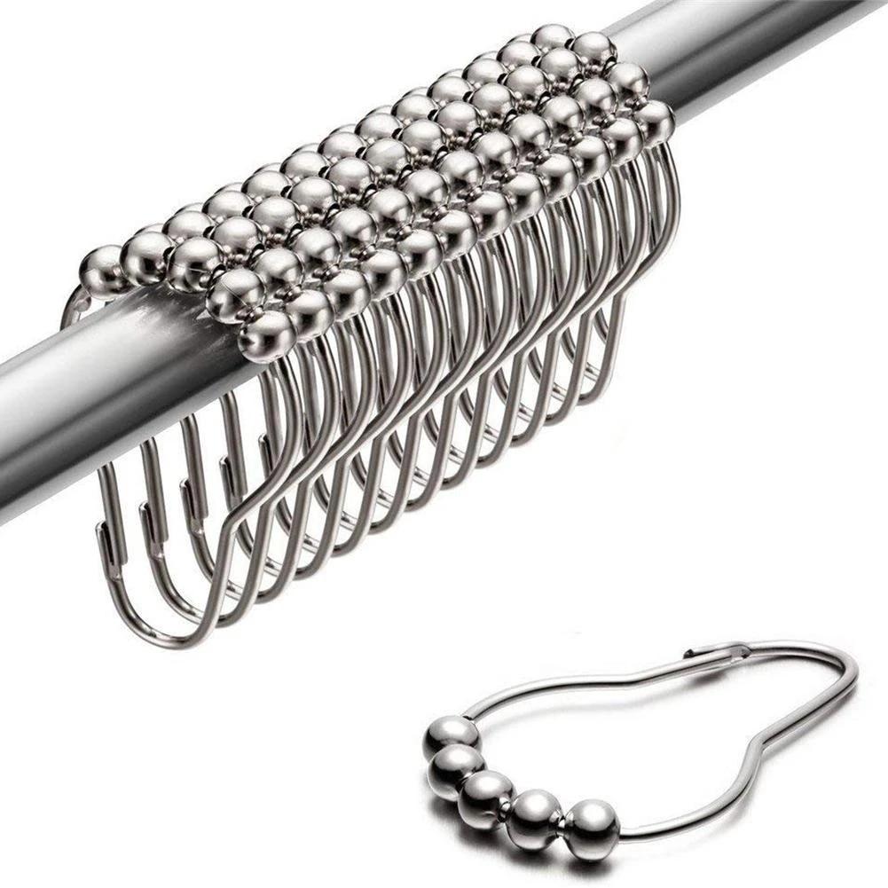 12pcs//Set Rustproof Stainless Steel Shower Curtain Bathroom Hooks Rings Rod C6N1