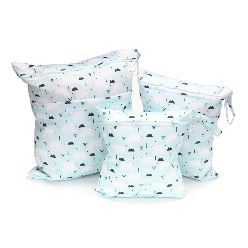 3 Piece Suit Travel PUL Wet Bags Baby Waterproof Cloth Diaper Bag Single Zipper Print Reusable Baby Nappy Wet Dry Bags Wetbags