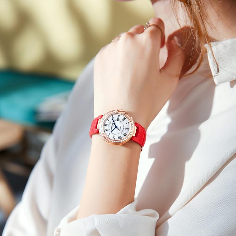 Carnival Women Watches Luxury Diamond Ladies Quartz Watch Leather Strap Wrist Watch Relogio Feminino - 4