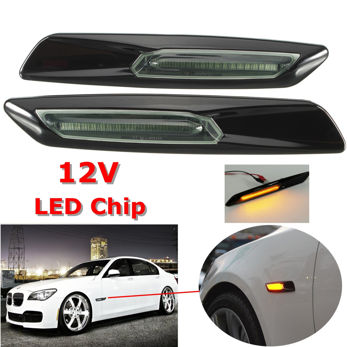 Pair Car LED Side Marker Light Indicator Lamps Amber White For BMW E60 E61 F10 E90 E91 E92 E93 E81 E82 E87 E88 image
