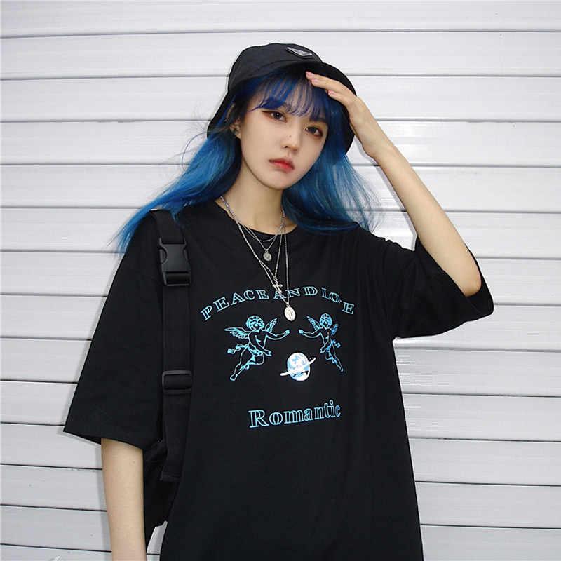 ライチ原宿 o ネック半袖の女性 tシャツ黒夏の女性の tシャツ天使の手紙プリント女性の tシャツ