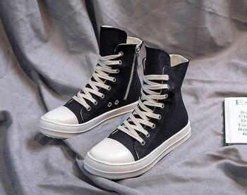 High-top zapatos de los hombres y mujeres parejas suela gruesa zapatos de lona zapatos de terciopelo casual zapatillas de mujer blanco Zapatos de Mujer Zapatos