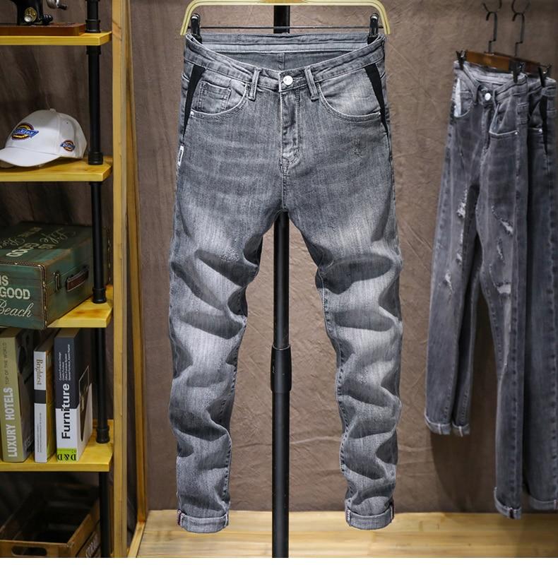 KSTUN Mens Skinny Jeans Pants Gray Light Blue Stretch Jeans Men Brand Quality Fashion Casual Denim Pants Men's Clothing Long Trousers 11