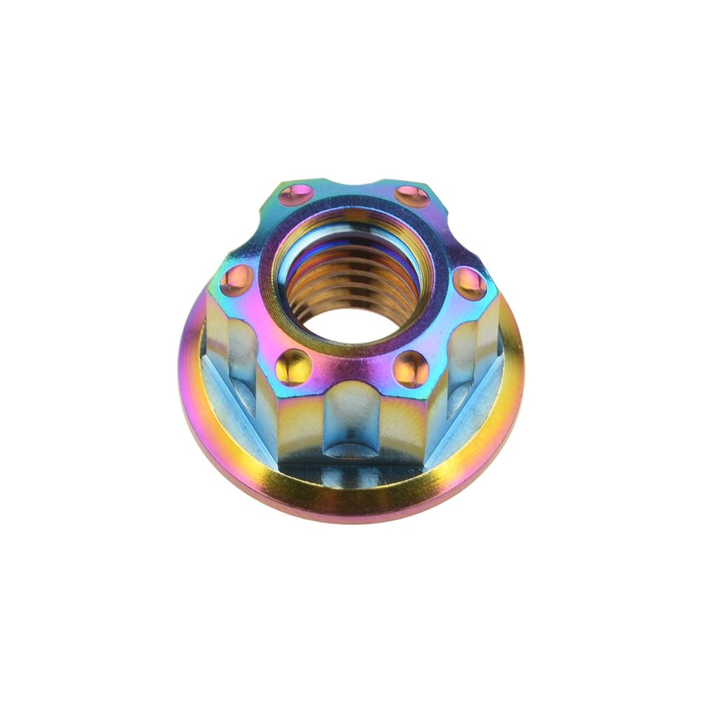 "Титановый ""Wanyifa"" гайки Ti M6 M8 M12 гайка фланца болты для велосипеда аксессуары велосипед стоп-сигнал - Цвет: M12 rainbow"