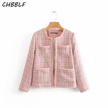 CHBBLF women elegant stylish pink jackets round collar long sleeve pockets design tweed