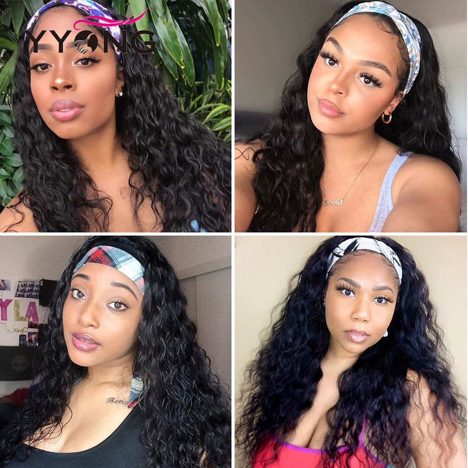 YYongHair  Headband Wig With Scarf 100%   Water Wave  Wig Glueless Wig for Women 8-24inch 6