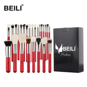 Набор кистей для макияжа BEILI Red, Профессиональная Кисть для макияжа из синтетической шерсти, нано-шерсть, тени для век, пудра, растушевка, кис...