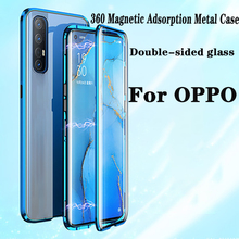 360 Double Side tempered Glass Magnetic Case For OPPO Realme 6i 5i 6 5 Pro C3 XT Reno 2 3 4 Pro 6.4 A9 A5 2020 A11X Metal Cover