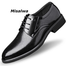 Misalwa Men Leather Office Shoes Hollow Classic Derby Suit For British Business Wedding Elevator Shoe Oversized 36-49