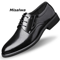 Misalwa Men Leather Office Shoes Hollow Classic Derby Suit Shoes For Men British Business Wedding Elevator Shoe Oversized 36 49
