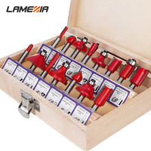 LAMEZIA 12/15 pcs 1/4 1/2 Inch 8 mm Handle Wood Milling Cutter Machines Router Bit Set For Carbide Shank Mill Woodworking Tools