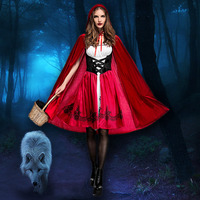 Ataullah Little Red Riding Hood Adault Cosplay Costume Halloween Wicca Cloak For Woman Carnival Party Queen Dress DW003