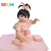 KEIUMI Lovely Baby Reborn Girl Doll Full Silicone Body Lifelike Bonecas Newborn Princess Babies Bathe Toy Birthday Present все цены