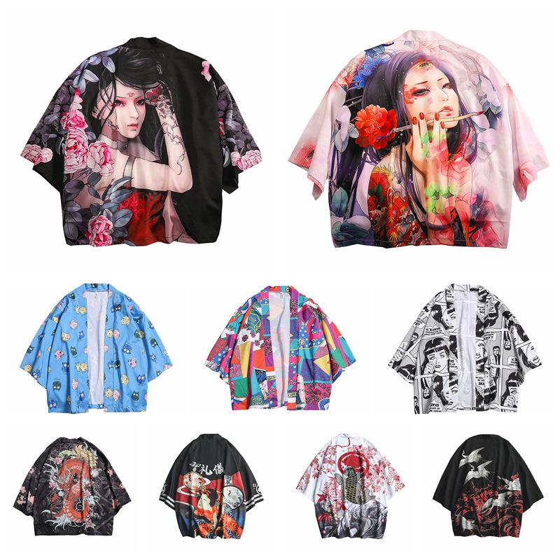 Men Japanese Fashion Robe Traditional Kimono Cardigan Gown Aodai Ropa Tshirt Blouse Vietnam Clothing Yukata Coats Asian Clothes