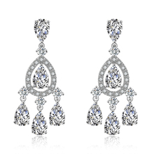 FEEHOW New Exquisite Cubic Zirconia Drops Long Simple Earrings for Women Wedding Dinner Party Anniversary Gift Jewelry FWEP2161
