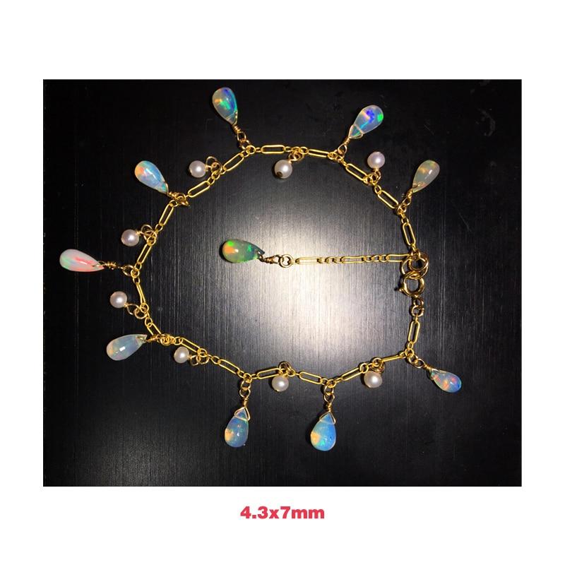 ICNWAY  Natural Natural Opal Freshwater Pearl Drop Shape  Bracelet  Birthday  Gift 14k GF Clasp