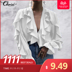 Celmia Stylish Tops Summer Ruffled Blouse Women Sexy V neck Long Sleeve Shirts Female Casual Buttons Street Blusas Plus Size 5XL 1