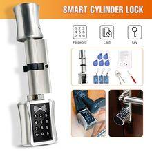 Fechadura de cilindro inteligente estilo europeu, fechadura eletrônica para porta, código digital, cartão rfid, trava elétrica, sem chave, para casa