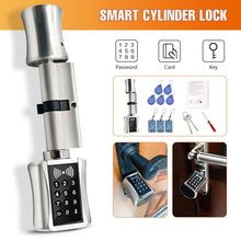 Inteligentny zamek cylindryczny europejski styl elektroniczny zamek do drzwi klawiatura cyfrowa kod karta RFID Keyless zamek elektryczny bezpieczny dla domu