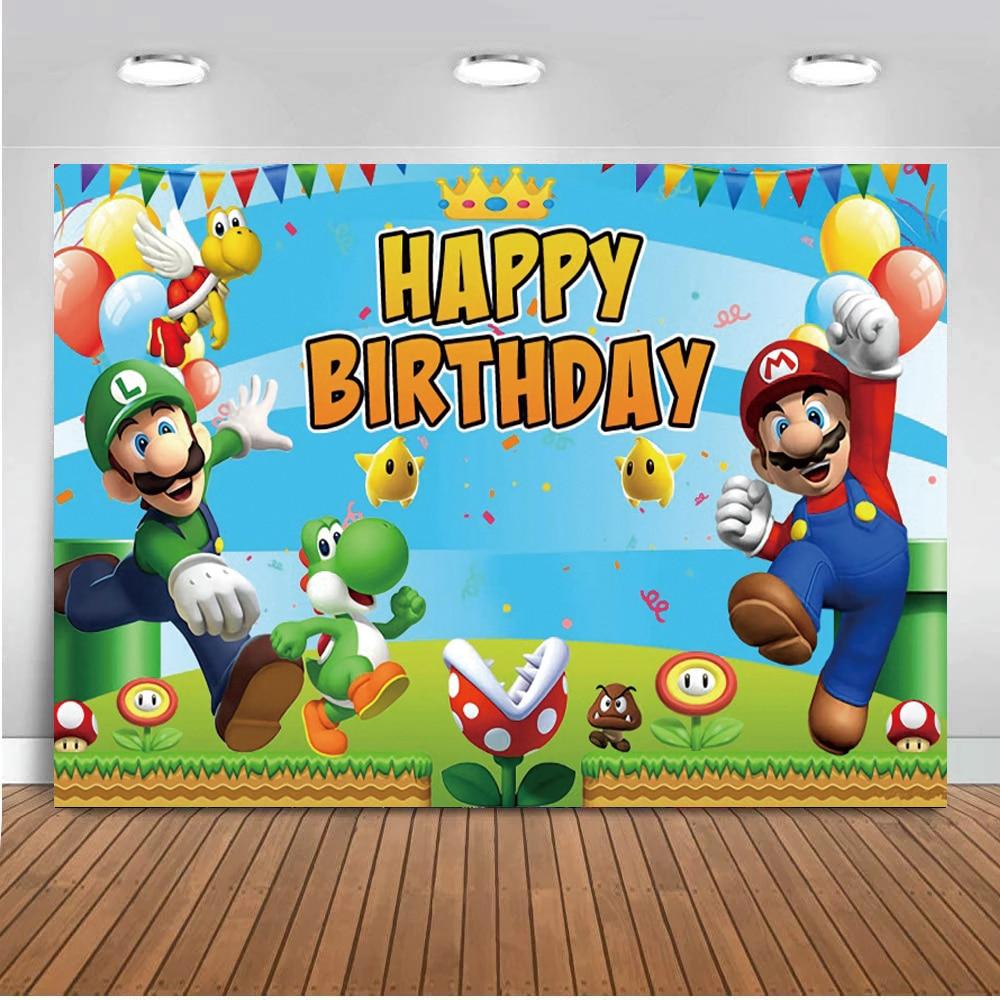 Игра Супер Марио Bros фотографии фонов вечерние Настольный Декор детей День рождения вечерние мультфильм фон для фотосъемки с изображением в...