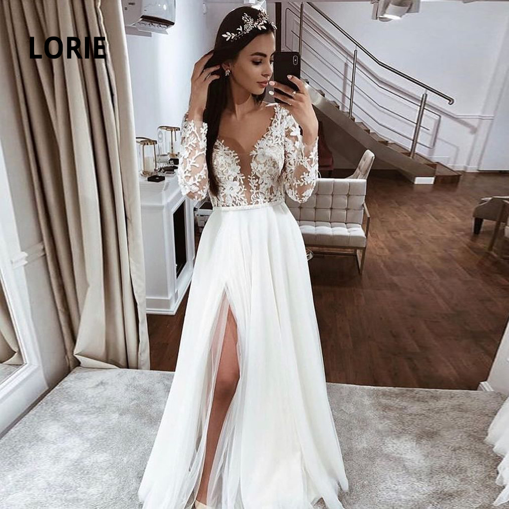 LORIE Elegant Lace Appliqued V-neck Wedding Dresses For Women 2020 Soft Tulle Long Sleeve Princess Beach Bridal Gowns With Split