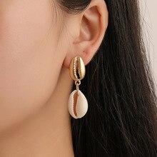 HOCOLE Trendy Sea Shell Earrings For Women Boho Gold Color Metal Shell Cowrie Drop Dangle Earring Statement 2019 Beach Jewelry цена