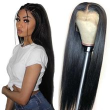 4*4 Lace Wig HD Transparent Human Hair Lace Front Wigs Remy Brazilian Straight Human Hair Wig Middle Part 180% Denstiy Cheap Wig