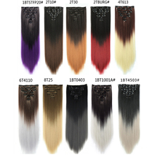 Maelove Ombre Black Hair Extensions Clip In Synthetic Hairpiece 16 Clips Long Straight Hair Extensions High Temperature Fiber