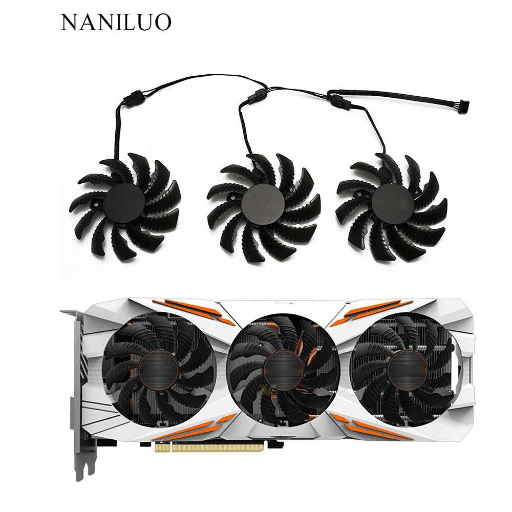 78MM T128010SU PLD08010S12HH 12V Cooling Fan For Gigabyte GTX1050 1060 1070 1080 G1 N960 N970 Graphics Card 4Pin Cooler Fans